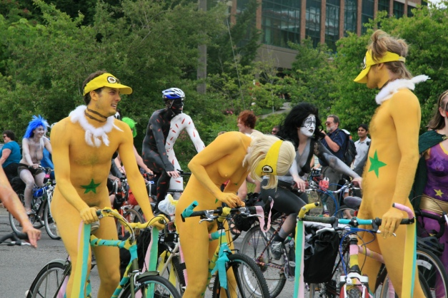 Would you be Chicken to ride nude in a parade?